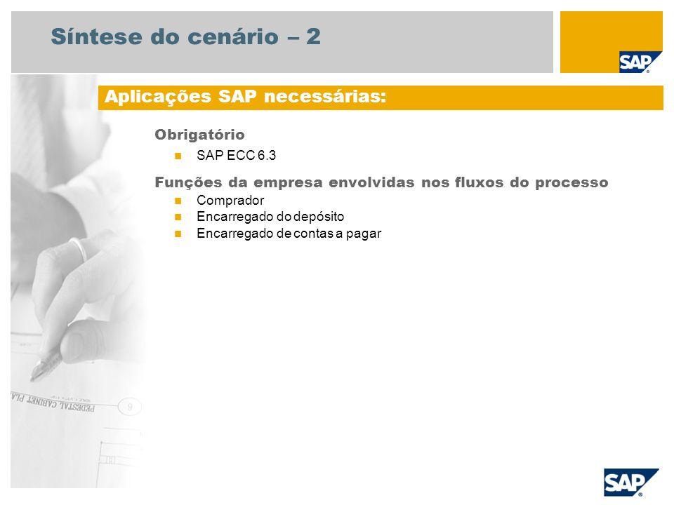 Síntese do cenário – 2 Obrigatório SAP ECC 6.3 Funções da empresa envolvidas nos fluxos do processo Comprador Encarregado do depósito Encarregado de c