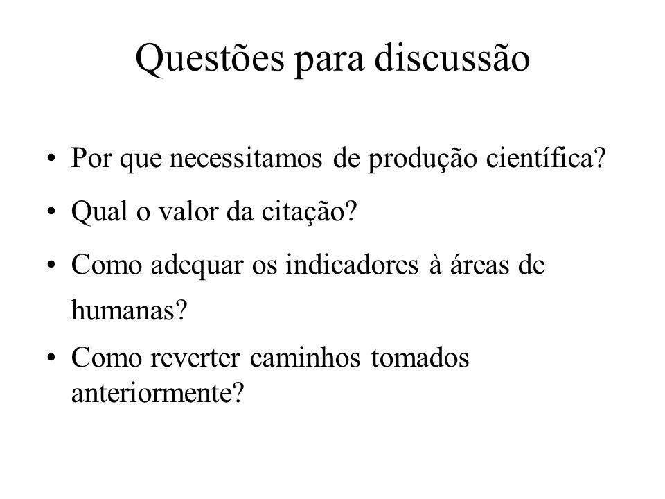 Questões para discussão Por que necessitamos de produção científica? Qual o valor da citação? Como adequar os indicadores à áreas de humanas? Como rev