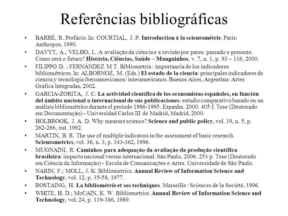 Referências bibliográficas BARRÉ, R. Prefácio. In: COURTIAL, J. P. Introduction à la scientométrie. Paris: Anthropos, 1990. DAVYT, A.; VELHO, L. A ava