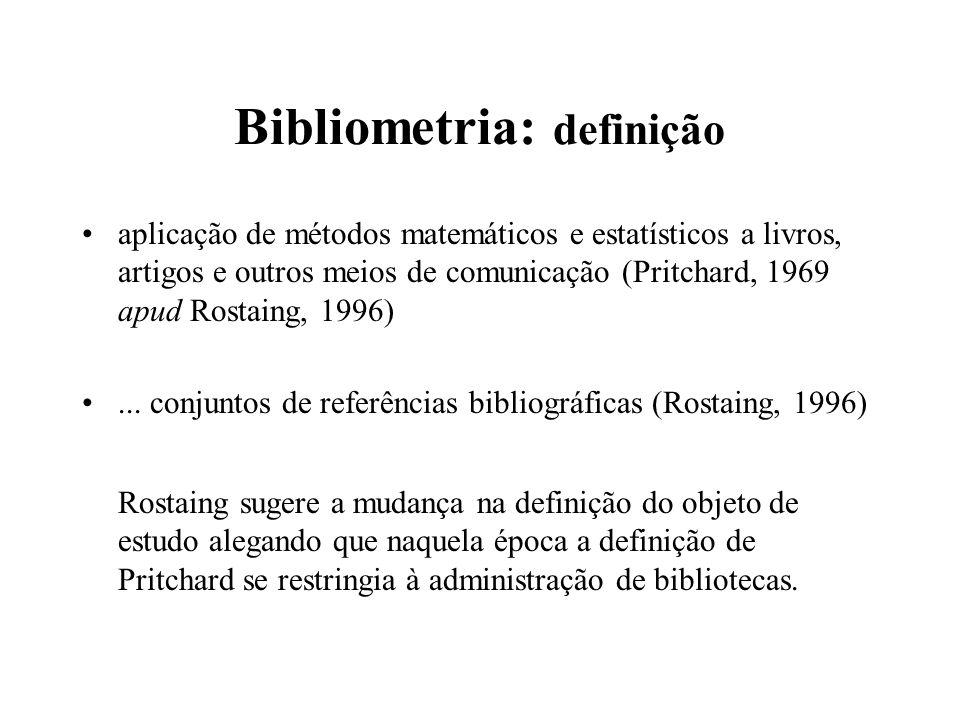 Bibliometria: definição aplicação de métodos matemáticos e estatísticos a livros, artigos e outros meios de comunicação (Pritchard, 1969 apud Rostaing