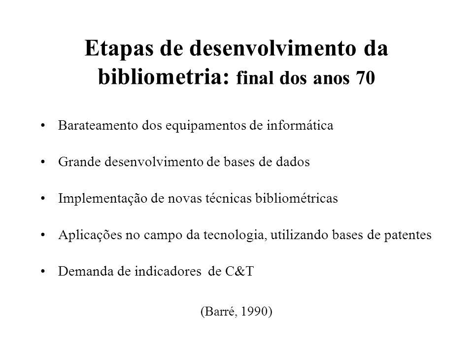 Etapas de desenvolvimento da bibliometria: final dos anos 70 Barateamento dos equipamentos de informática Grande desenvolvimento de bases de dados Imp
