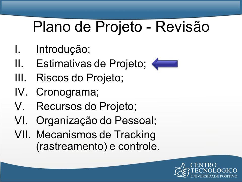 Plano de Projeto - Revisão I.Introdução; II.Estimativas de Projeto; III.Riscos do Projeto; IV.Cronograma; V.Recursos do Projeto; VI.Organização do Pes