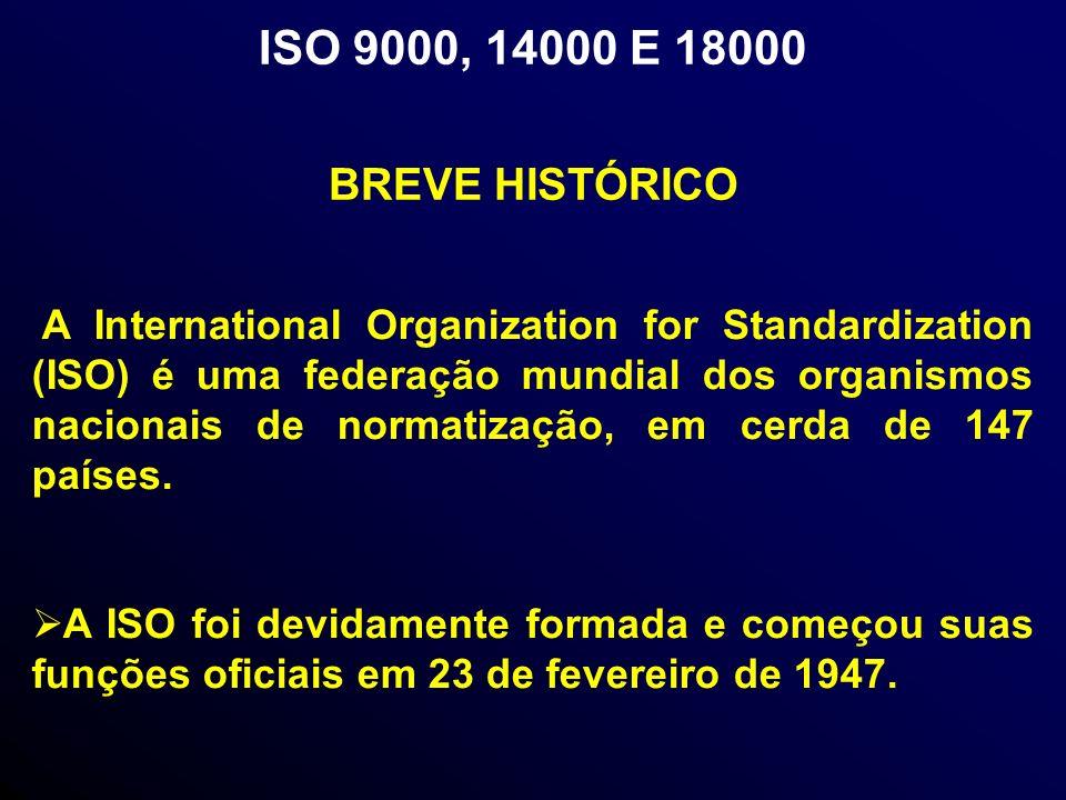 ISO 9000, 14000 E 18000 A International Organization for Standardization (ISO) é uma federação mundial dos organismos nacionais de normatização, em cerda de 147 países.