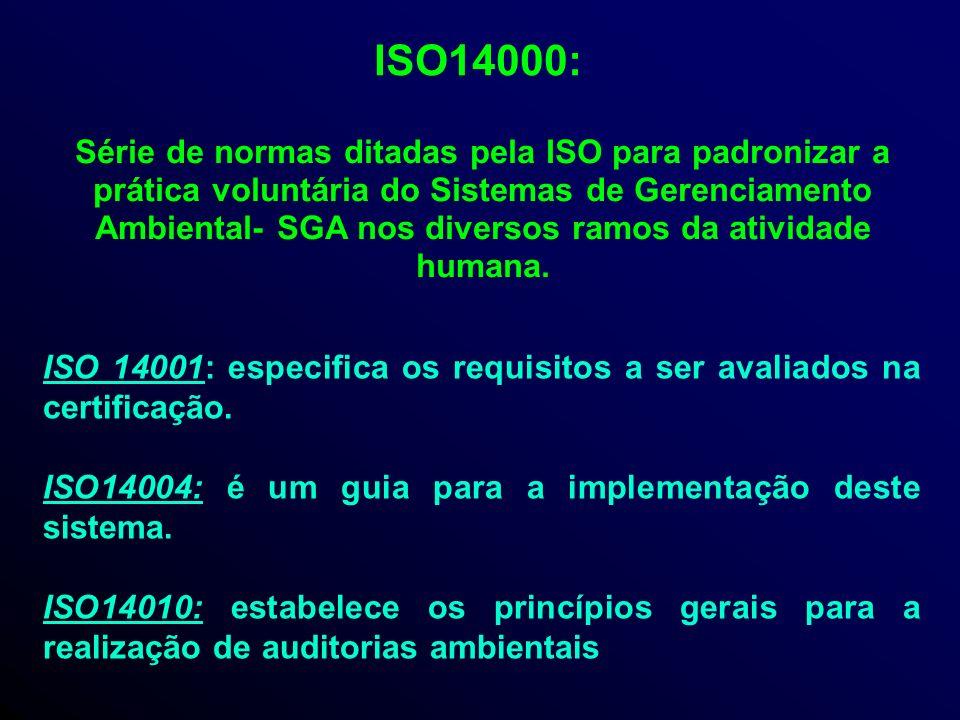 ISO14000: Série de normas ditadas pela ISO para padronizar a prática voluntária do Sistemas de Gerenciamento Ambiental- SGA nos diversos ramos da atividade humana.