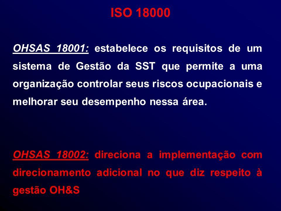 OHSAS 18001: estabelece os requisitos de um sistema de Gestão da SST que permite a uma organização controlar seus riscos ocupacionais e melhorar seu desempenho nessa área.