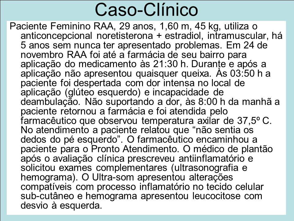 Projeto Farmácias Notificadoras Ministério da Saúde Caso-Clínico Paciente Feminino RAA, 29 anos, 1,60 m, 45 kg, utiliza o anticoncepcional noretisterona + estradiol, intramuscular, há 5 anos sem nunca ter apresentado problemas.