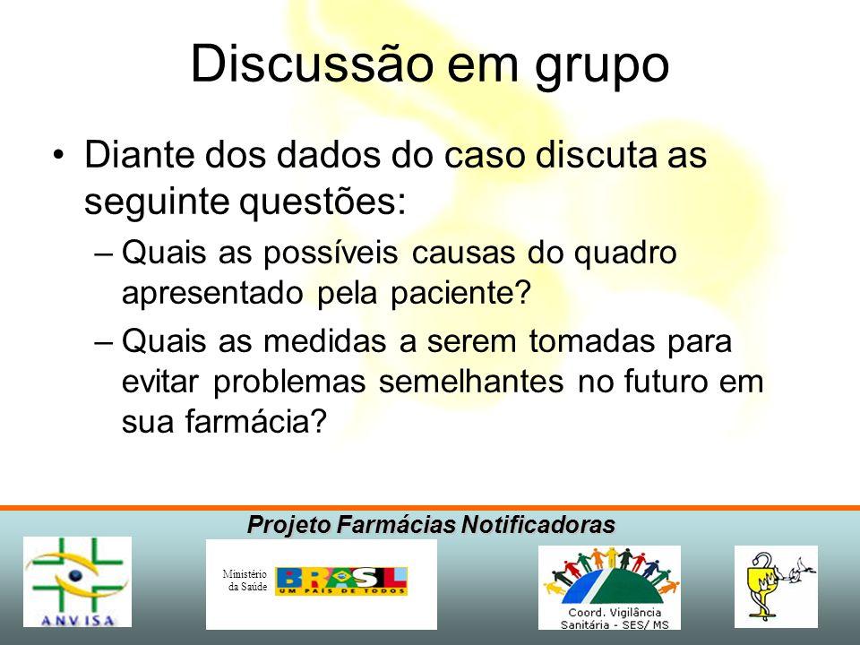 Projeto Farmácias Notificadoras Ministério da Saúde Discussão em grupo Diante dos dados do caso discuta as seguinte questões: –Quais as possíveis caus