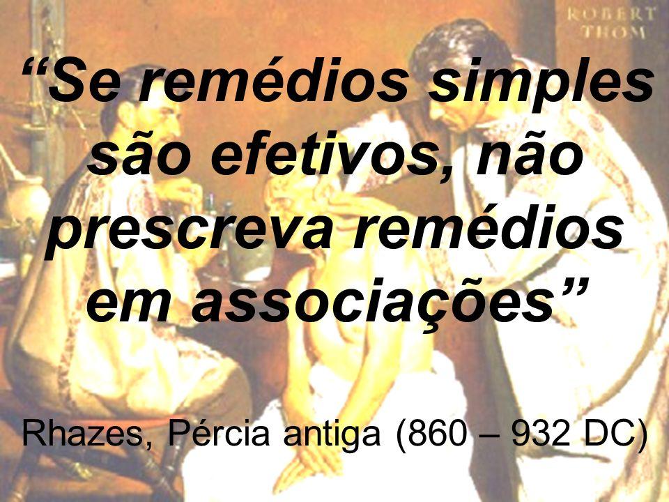 Projeto Farmácias Notificadoras Ministério da Saúde Se remédios simples são efetivos, não prescreva remédios em associações Rhazes, Pércia antiga (860