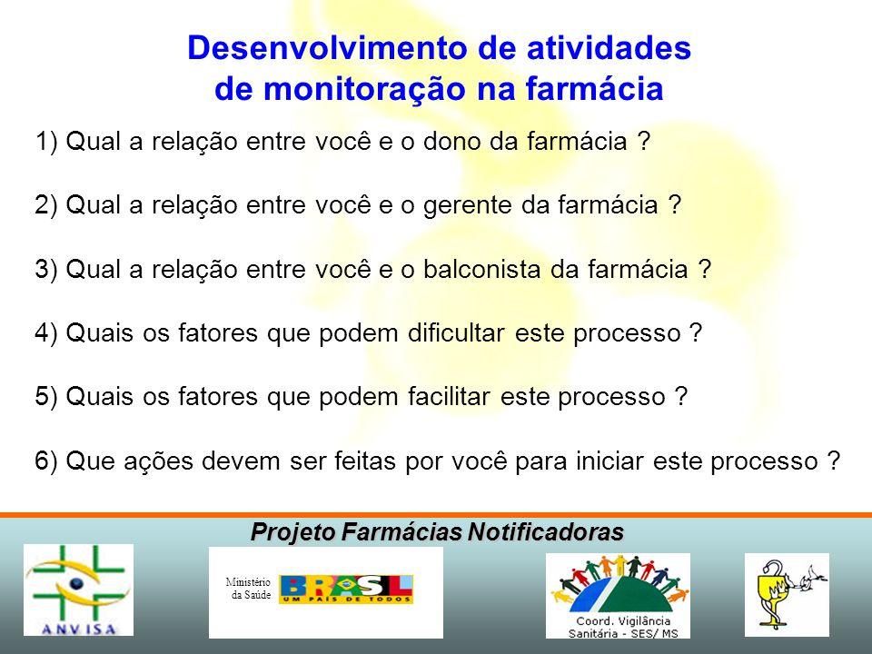 Projeto Farmácias Notificadoras Ministério da Saúde 1) Qual a relação entre você e o dono da farmácia .