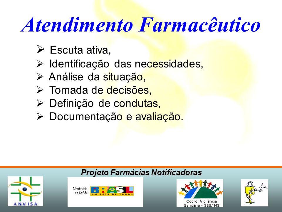 Projeto Farmácias Notificadoras Ministério da Saúde Atendimento Farmacêutico Escuta ativa, Identificação das necessidades, Análise da situação, Tomada de decisões, Definição de condutas, Documentação e avaliação.