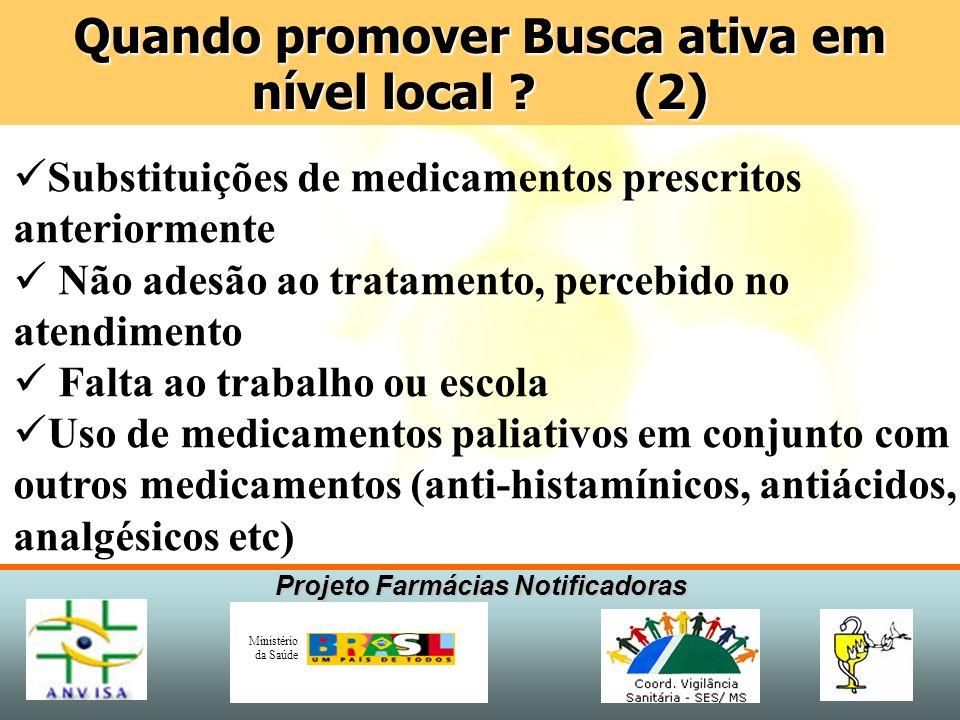 Projeto Farmácias Notificadoras Ministério da Saúde Substituições de medicamentos prescritos anteriormente Não adesão ao tratamento, percebido no aten