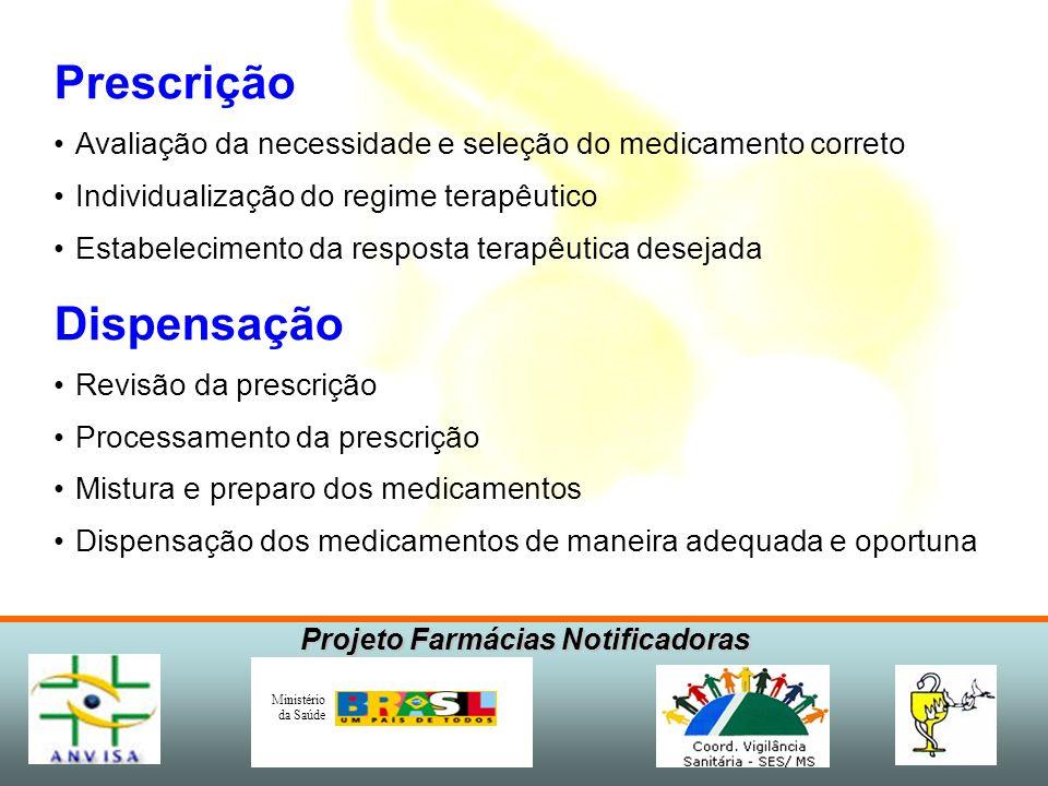 Projeto Farmácias Notificadoras Ministério da Saúde Prescrição Avaliação da necessidade e seleção do medicamento correto Individualização do regime te