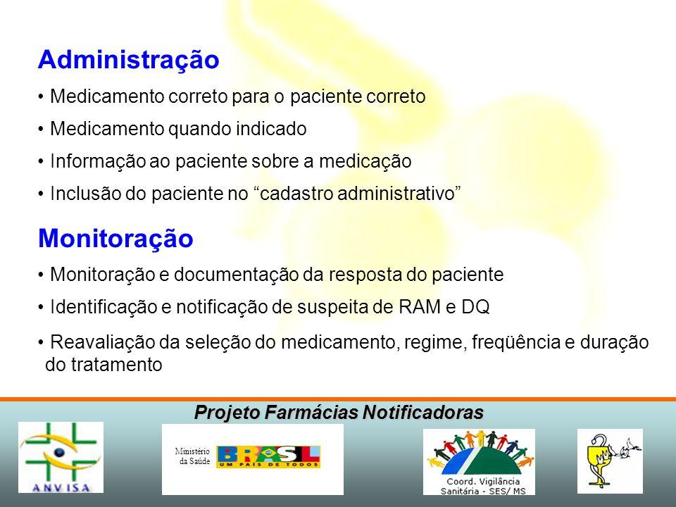 Projeto Farmácias Notificadoras Ministério da Saúde Administração Medicamento correto para o paciente correto Medicamento quando indicado Informação a