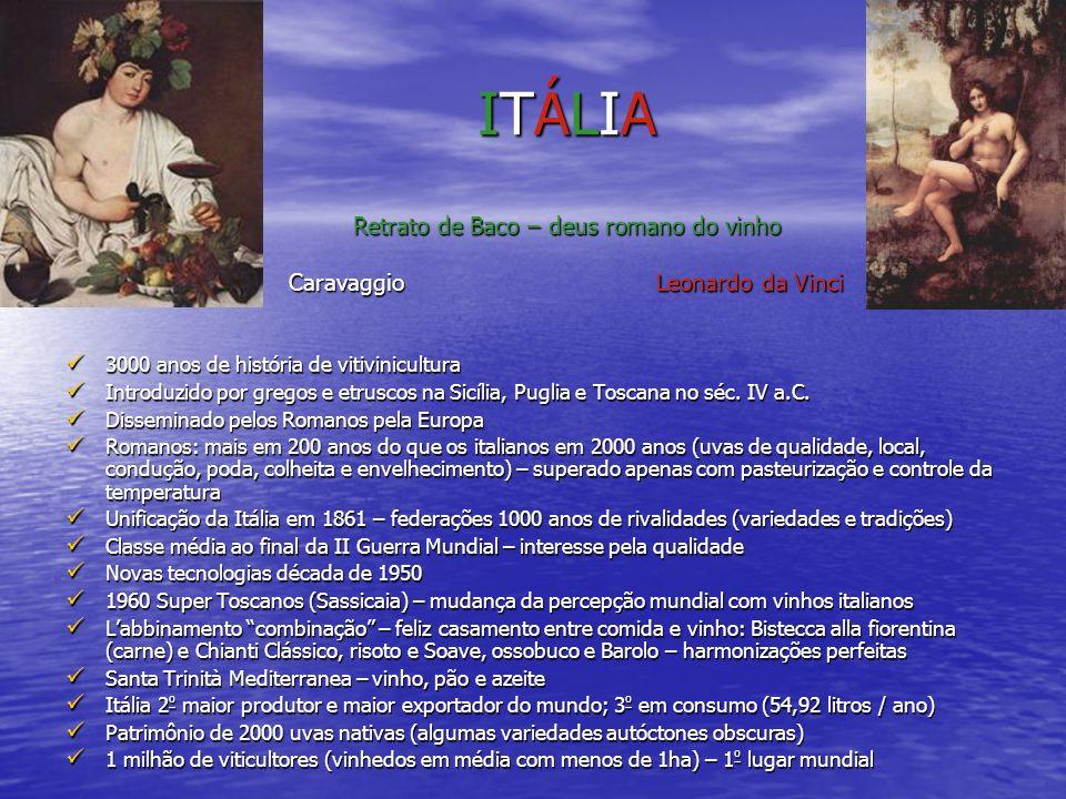ITÁLIA Retrato de Baco – deus romano do vinho Caravaggio Leonardo da Vinci 3000 anos de história de vitivinicultura 3000 anos de história de vitivinic
