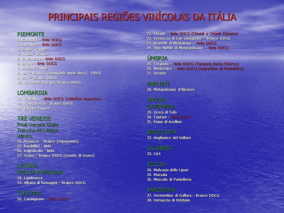 PRINCIPAIS REGIÕES VINÍCOLAS DA ITÁLIA PIEMONTE 1. Gattinara – tinto DOCG 2. Ghemme – tinto DOCG 3. Barbera - tinto 4. Arneis - branco 5. Barbaresco –