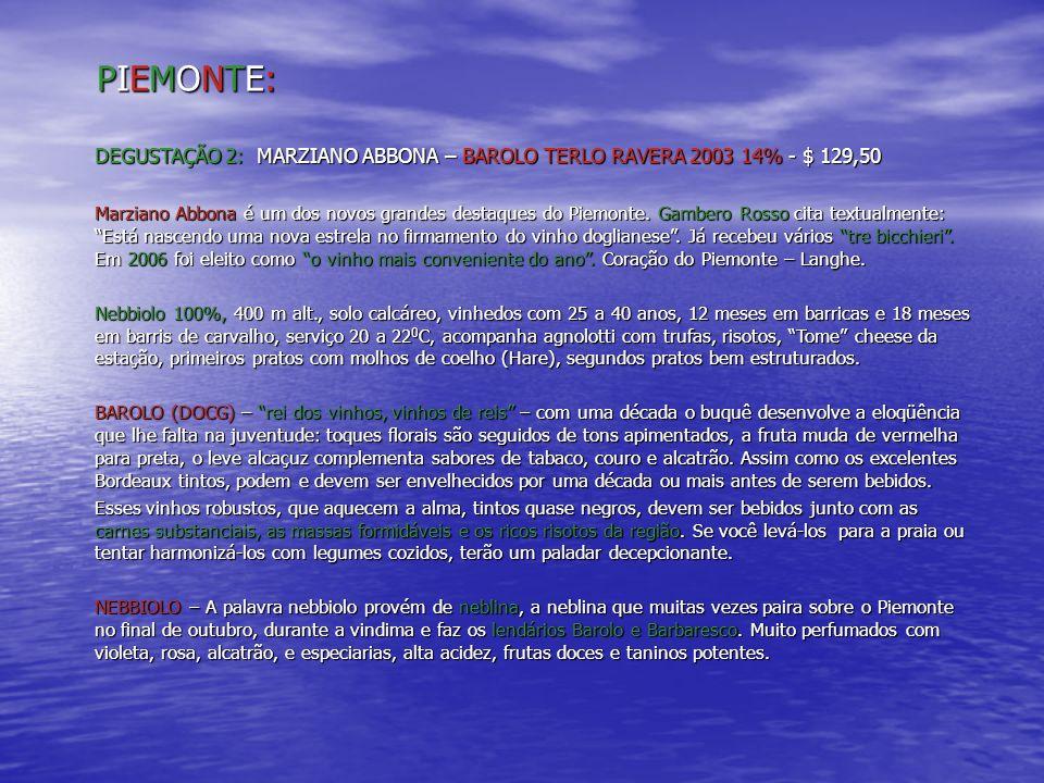 PIEMONTE:PIEMONTE:PIEMONTE:PIEMONTE: DEGUSTAÇÃO 2: MARZIANO ABBONA – BAROLO TERLO RAVERA 2003 14% - $ 129,50 Marziano Abbona é um dos novos grandes de