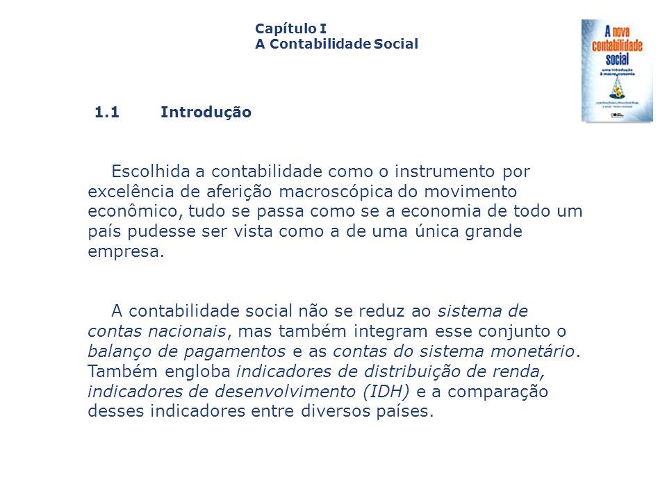 1.1 Introdução Capa da Obra Capítulo I A Contabilidade Social Escolhida a contabilidade como o instrumento por excelência de aferição macroscópica do