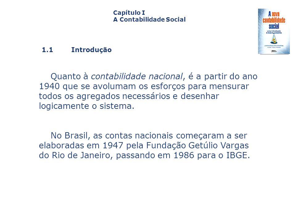 1.1 Introdução Capa da Obra Capítulo I A Contabilidade Social Quanto à contabilidade nacional, é a partir do ano 1940 que se avolumam os esforços para