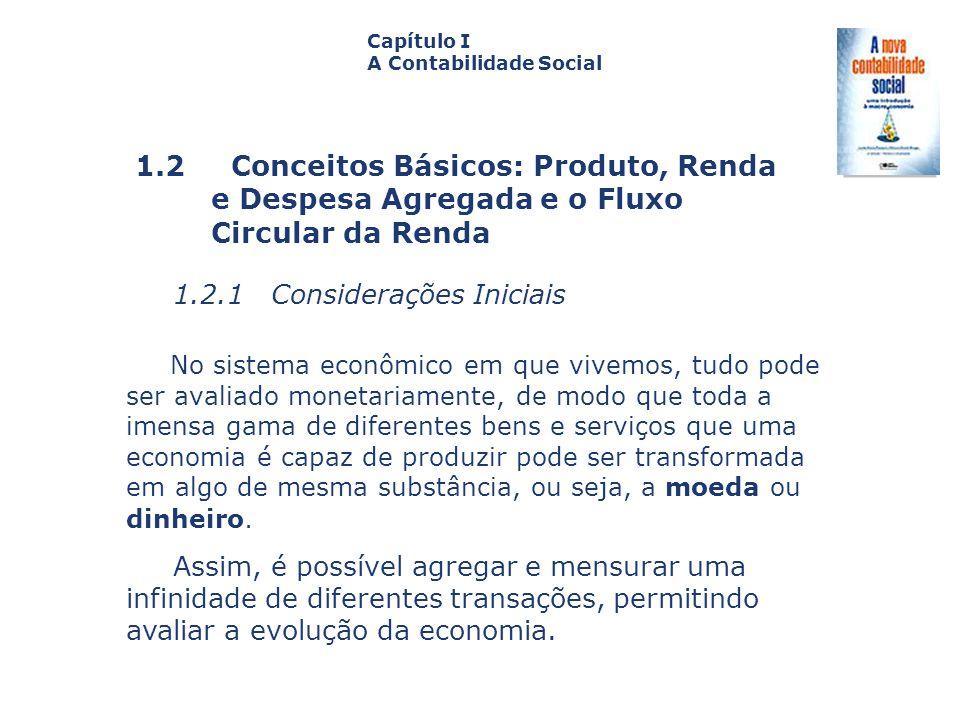 1.2 Conceitos Básicos: Produto, Renda e Despesa Agregada e o Fluxo Circular da Renda Capa da Obra Capítulo I A Contabilidade Social 1.2.1 Consideraçõe