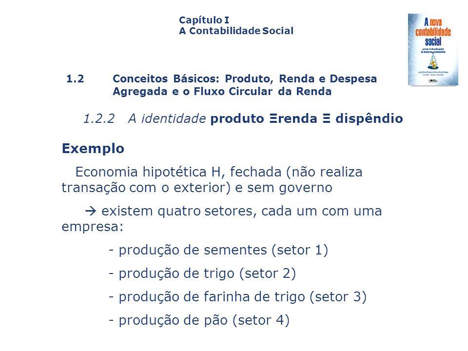 1.2 Conceitos Básicos: Produto, Renda e Despesa Agregada e o Fluxo Circular da Renda Capa da Obra Capítulo I A Contabilidade Social 1.2.2 A identidade