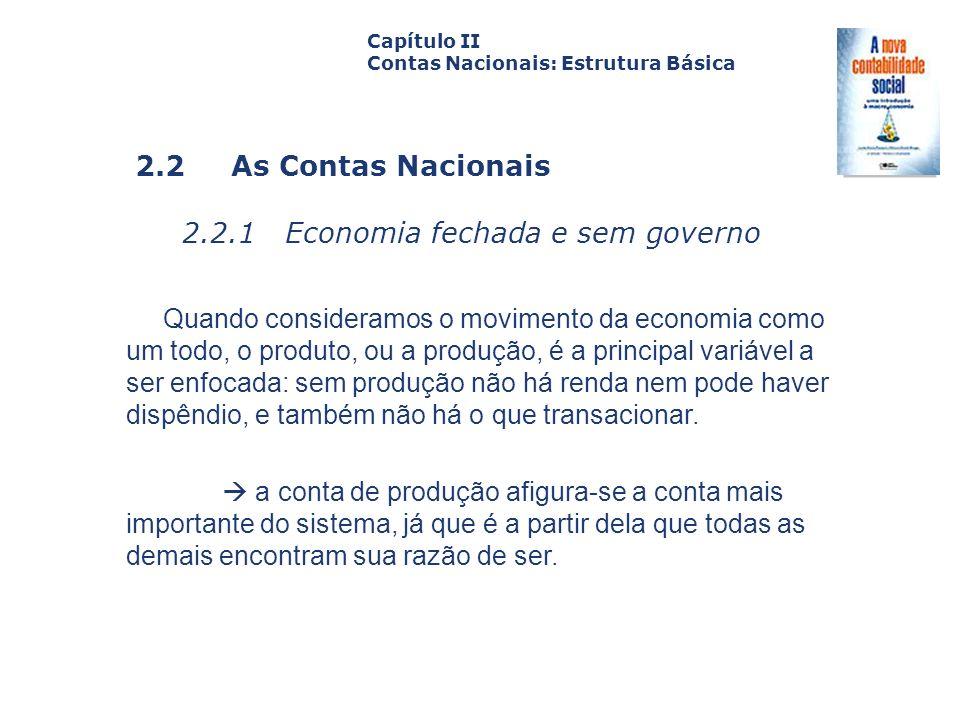 2.2 As Contas Nacionais 2.2.1 Economia fechada e sem governo Capa da Obra Capítulo II Contas Nacionais: Estrutura Básica Quando consideramos o movimen