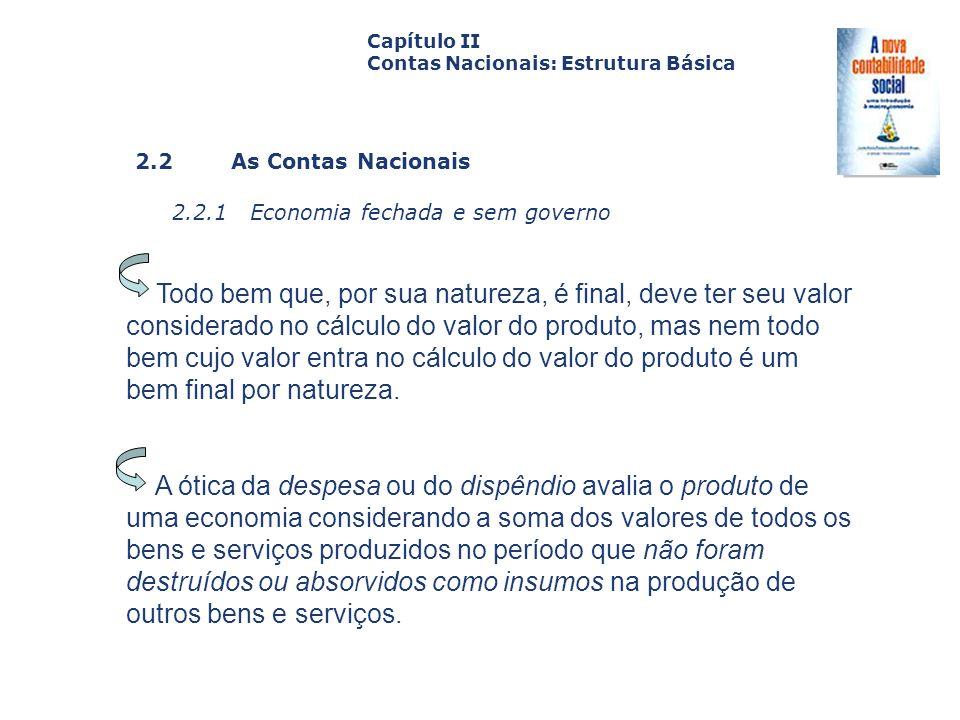 2.2 As Contas Nacionais 2.2.1 Economia fechada e sem governo Capa da Obra Capítulo II Contas Nacionais: Estrutura Básica Todo bem que, por sua naturez