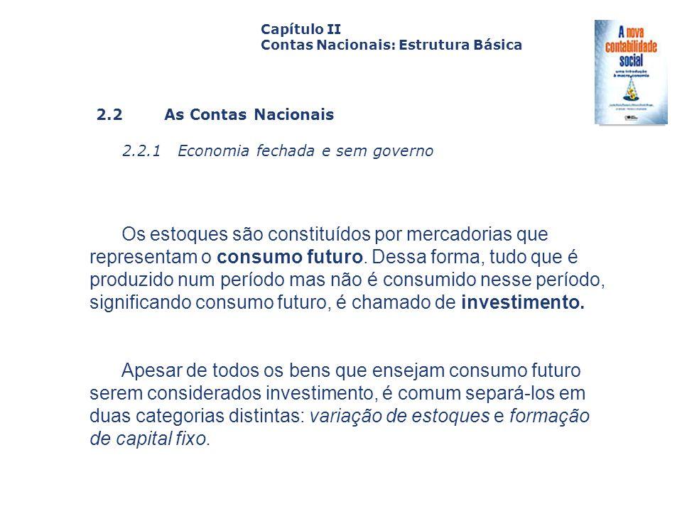 2.2 As Contas Nacionais 2.2.1 Economia fechada e sem governo Capa da Obra Capítulo II Contas Nacionais: Estrutura Básica Os estoques são constituídos