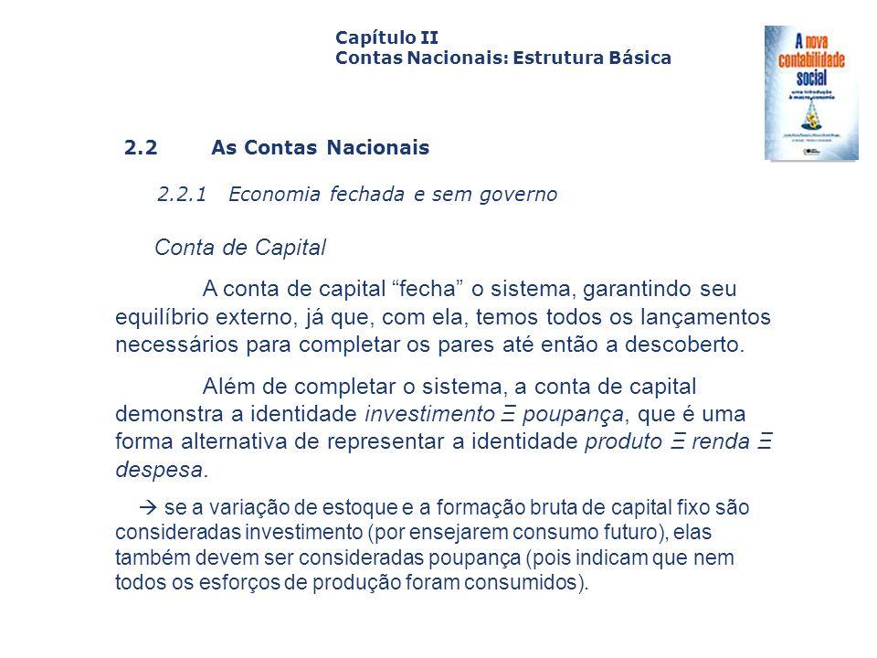 2.2 As Contas Nacionais 2.2.1 Economia fechada e sem governo Capa da Obra Capítulo II Contas Nacionais: Estrutura Básica Conta de Capital A conta de c