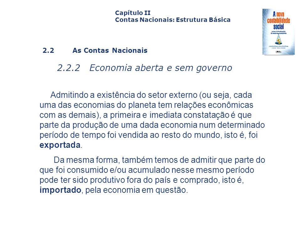 2.2 As Contas Nacionais 2.2.2 Economia aberta e sem governo Capa da Obra Capítulo II Contas Nacionais: Estrutura Básica Admitindo a existência do seto
