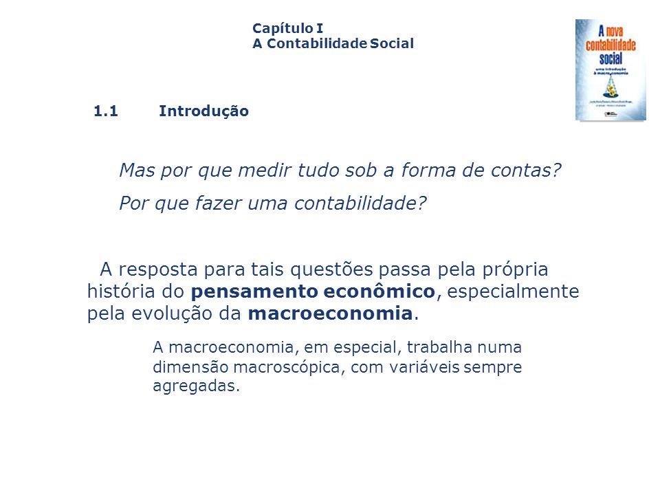 1.1 Introdução Capa da Obra Capítulo I A Contabilidade Social Mas por que medir tudo sob a forma de contas? Por que fazer uma contabilidade? A respost