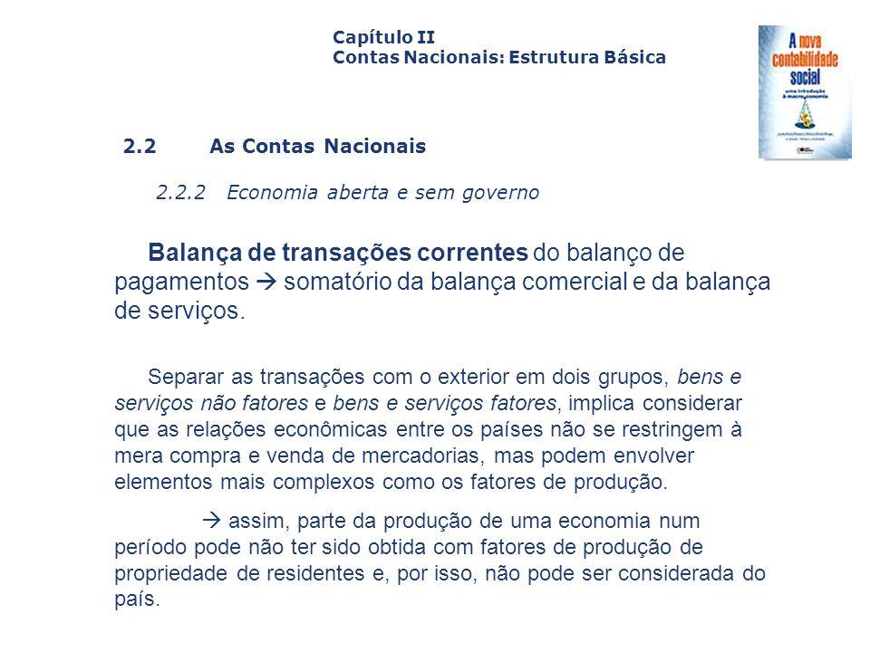 2.2 As Contas Nacionais 2.2.2 Economia aberta e sem governo Capa da Obra Capítulo II Contas Nacionais: Estrutura Básica Balança de transações corrente