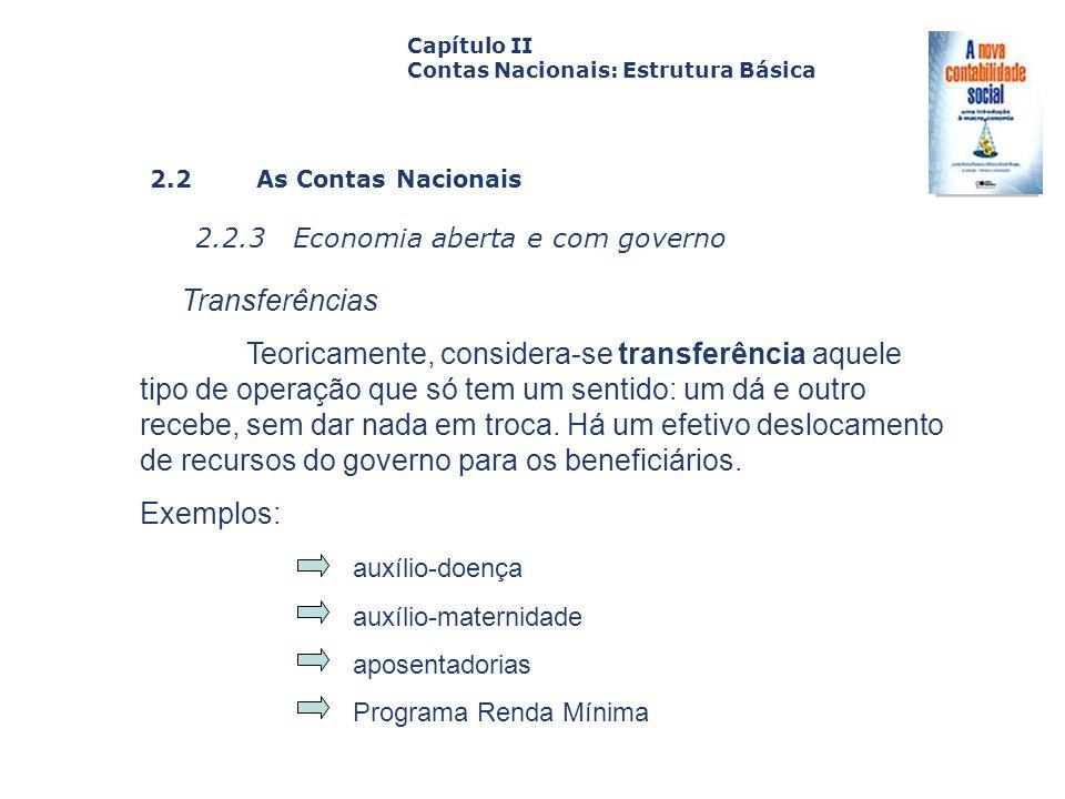 2.2 As Contas Nacionais 2.2.3 Economia aberta e com governo Capa da Obra Capítulo II Contas Nacionais: Estrutura Básica Transferências Teoricamente, c
