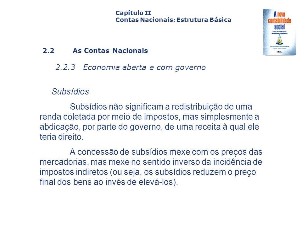 2.2 As Contas Nacionais 2.2.3 Economia aberta e com governo Capa da Obra Capítulo II Contas Nacionais: Estrutura Básica Subsídios Subsídios não signif