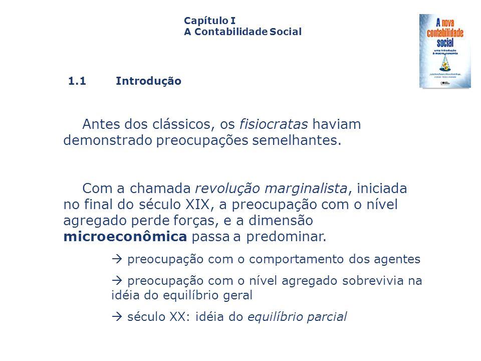 1.1 Introdução Capa da Obra Capítulo I A Contabilidade Social Antes dos clássicos, os fisiocratas haviam demonstrado preocupações semelhantes. Com a c