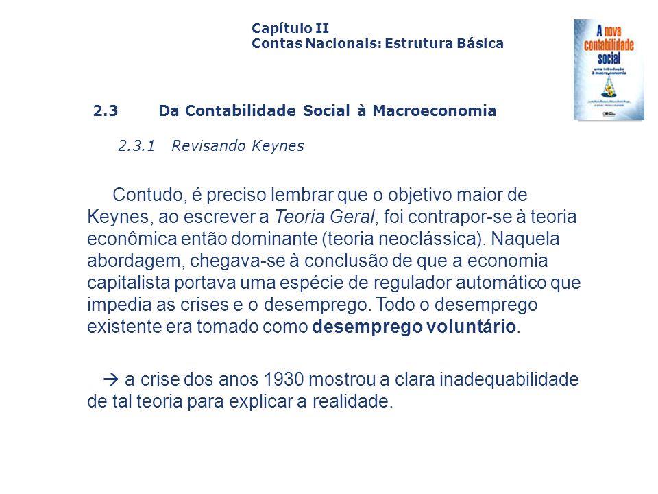 2.3 Da Contabilidade Social à Macroeconomia 2.3.1 Revisando Keynes Capa da Obra Capítulo II Contas Nacionais: Estrutura Básica Contudo, é preciso lemb