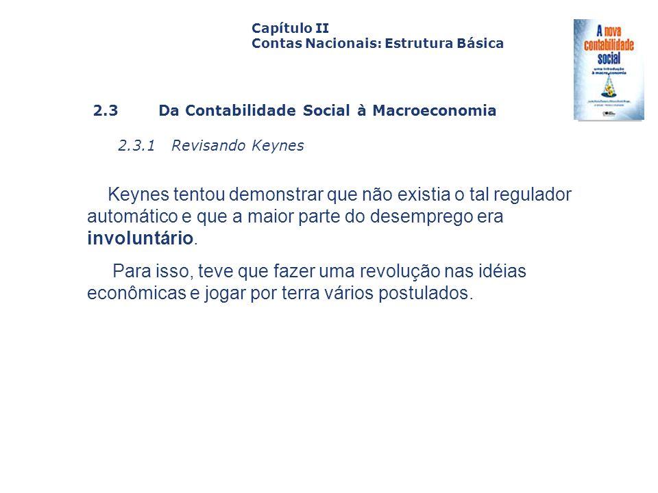 2.3 Da Contabilidade Social à Macroeconomia 2.3.1 Revisando Keynes Capa da Obra Capítulo II Contas Nacionais: Estrutura Básica Keynes tentou demonstra