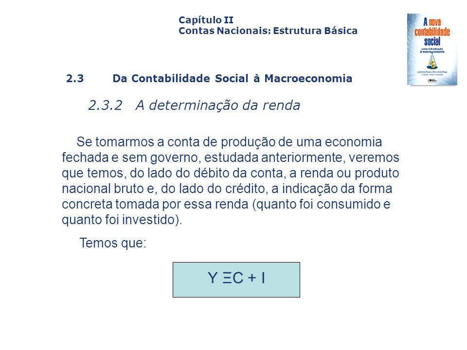 2.3 Da Contabilidade Social à Macroeconomia 2.3.2 A determinação da renda Capa da Obra Capítulo II Contas Nacionais: Estrutura Básica Se tomarmos a co
