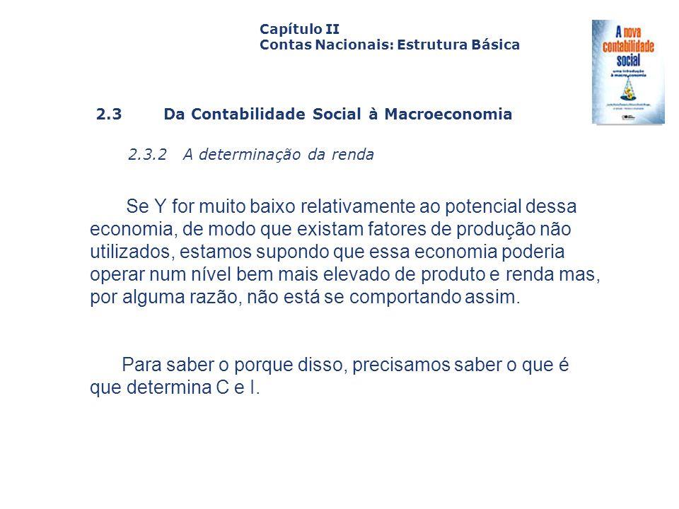 2.3 Da Contabilidade Social à Macroeconomia 2.3.2 A determinação da renda Capa da Obra Capítulo II Contas Nacionais: Estrutura Básica Se Y for muito b