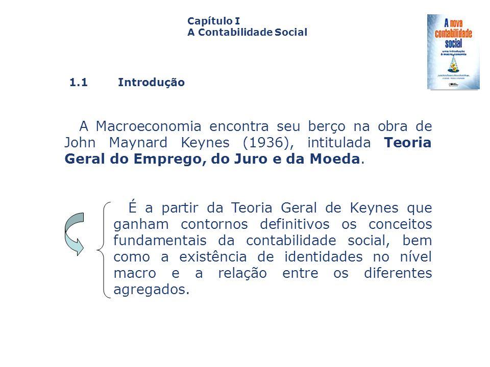 1.1 Introdução Capa da Obra Capítulo I A Contabilidade Social A Macroeconomia encontra seu berço na obra de John Maynard Keynes (1936), intitulada Teo