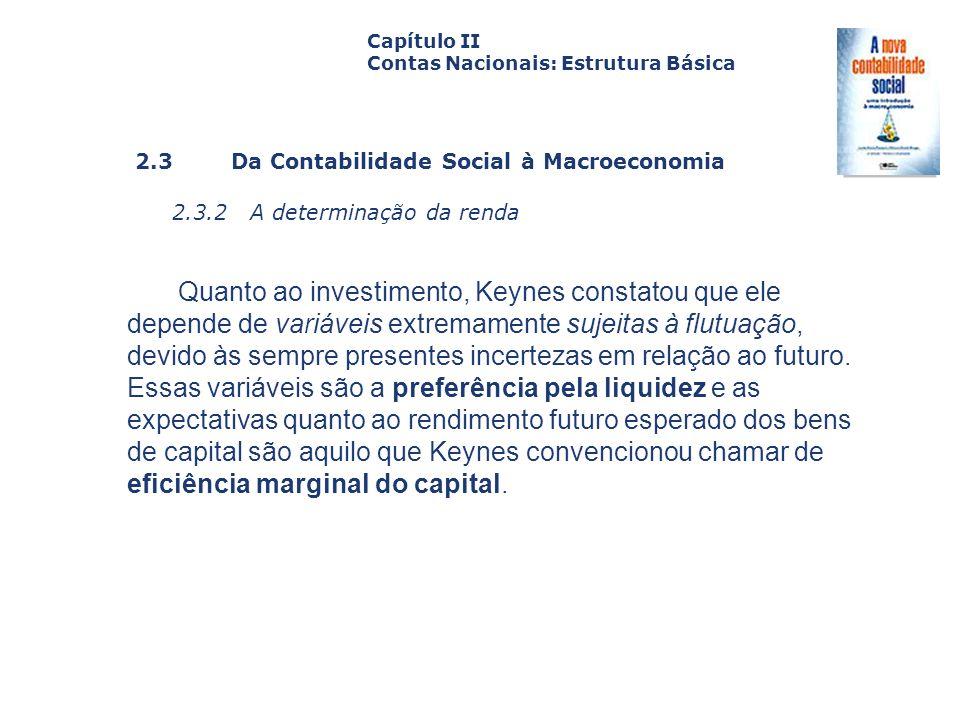 2.3 Da Contabilidade Social à Macroeconomia 2.3.2 A determinação da renda Capa da Obra Capítulo II Contas Nacionais: Estrutura Básica Quanto ao invest