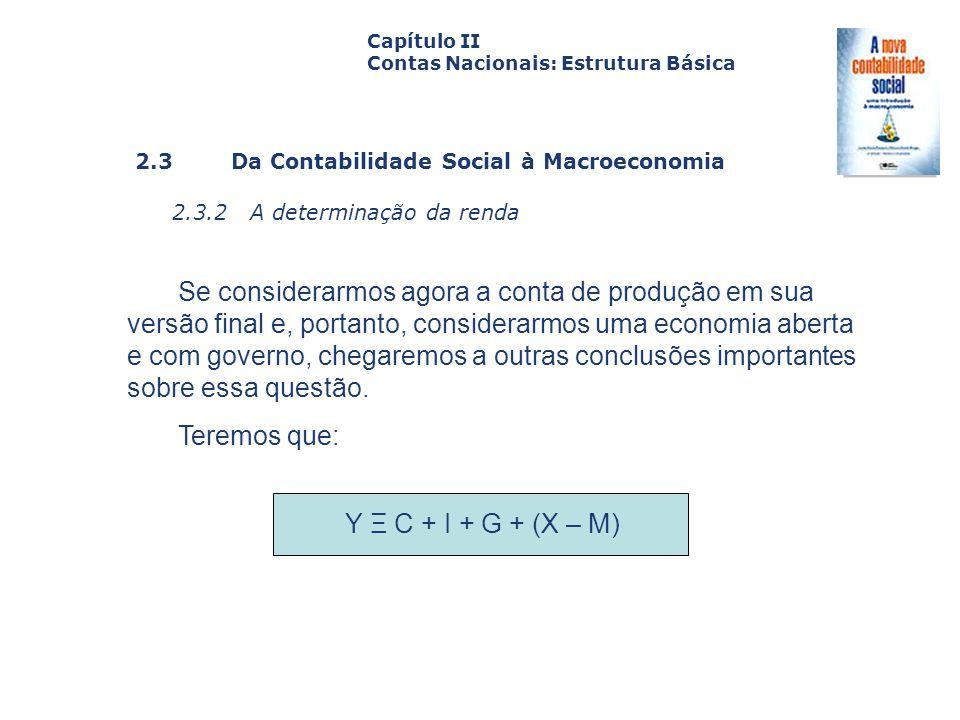2.3 Da Contabilidade Social à Macroeconomia 2.3.2 A determinação da renda Capa da Obra Capítulo II Contas Nacionais: Estrutura Básica Se considerarmos