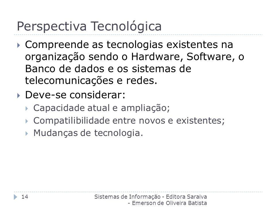 Perspectiva Tecnológica Sistemas de Informação - Editora Saraiva - Emerson de Oliveira Batista 14 Compreende as tecnologias existentes na organização