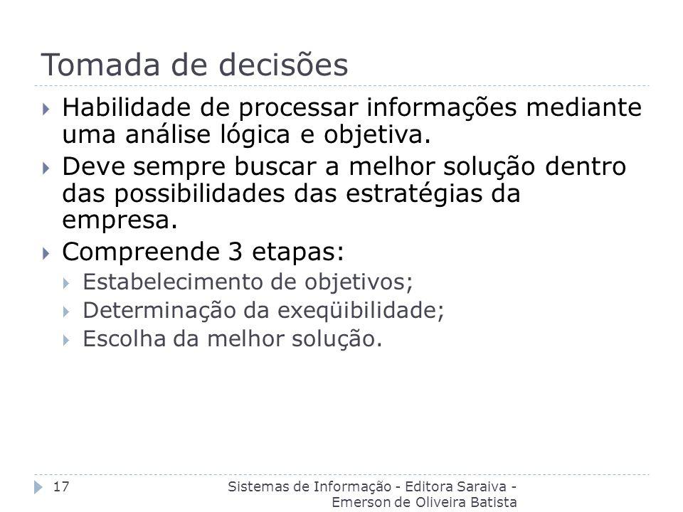 Tomada de decisões Sistemas de Informação - Editora Saraiva - Emerson de Oliveira Batista 17 Habilidade de processar informações mediante uma análise