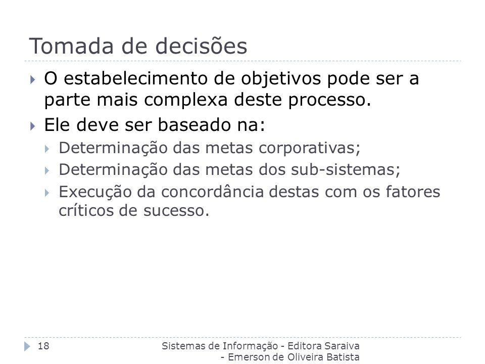 Tomada de decisões Sistemas de Informação - Editora Saraiva - Emerson de Oliveira Batista 18 O estabelecimento de objetivos pode ser a parte mais comp