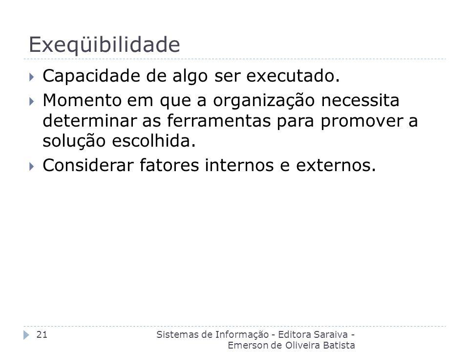 Exeqüibilidade Sistemas de Informação - Editora Saraiva - Emerson de Oliveira Batista 21 Capacidade de algo ser executado. Momento em que a organizaçã