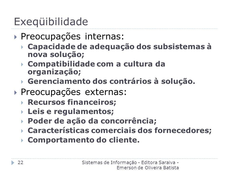 Exeqüibilidade Sistemas de Informação - Editora Saraiva - Emerson de Oliveira Batista 22 Preocupações internas: Capacidade de adequação dos subsistema