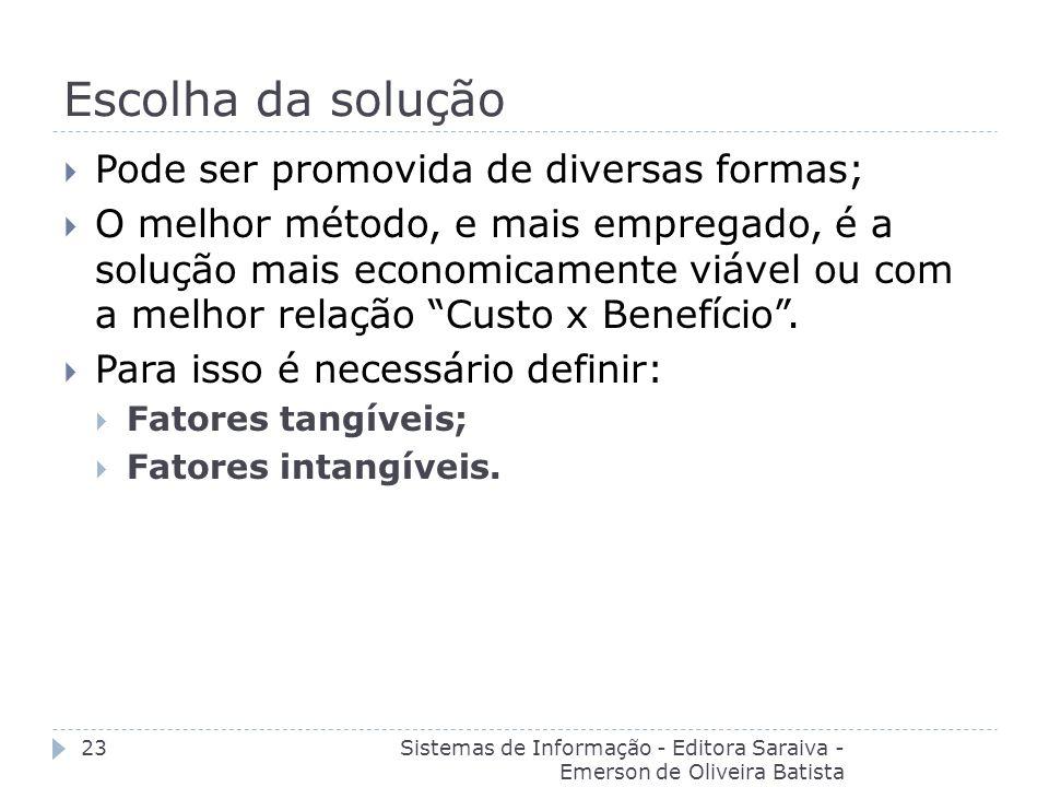 Escolha da solução Sistemas de Informação - Editora Saraiva - Emerson de Oliveira Batista 23 Pode ser promovida de diversas formas; O melhor método, e