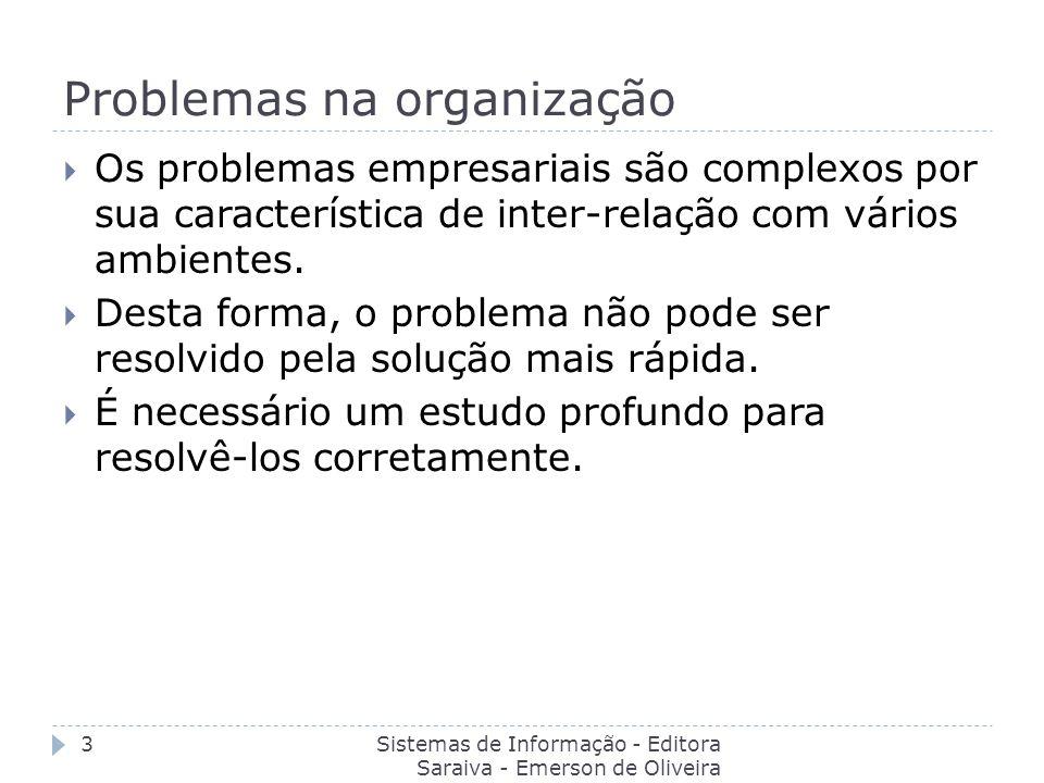 Problemas na organização Sistemas de Informação - Editora Saraiva - Emerson de Oliveira Batista 3 Os problemas empresariais são complexos por sua cara