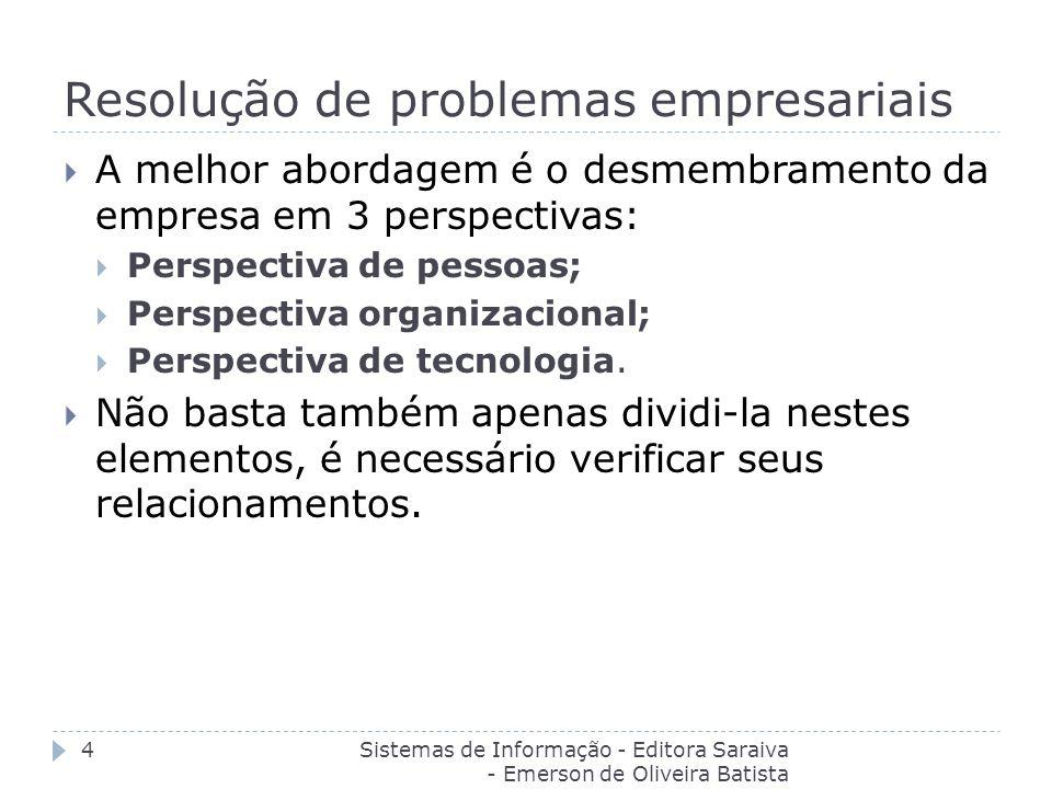 Resolução de problemas empresariais Sistemas de Informação - Editora Saraiva - Emerson de Oliveira Batista 4 A melhor abordagem é o desmembramento da