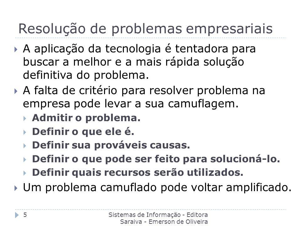Resolução de problemas empresariais Sistemas de Informação - Editora Saraiva - Emerson de Oliveira Batista 5 A aplicação da tecnologia é tentadora par